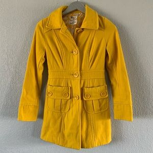 Tulle Yellow Fitted Pea Coat